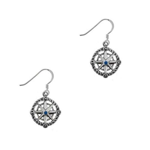Outlander Inspired 'Voyager' Inspired Nautical Compass Drop Pair of Earrings -Sapphire Colour Stone